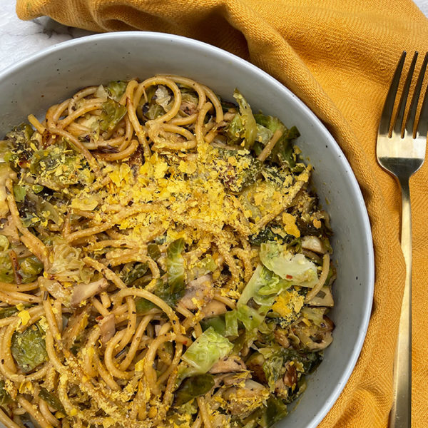brussel sprout garlic and lemon pasta