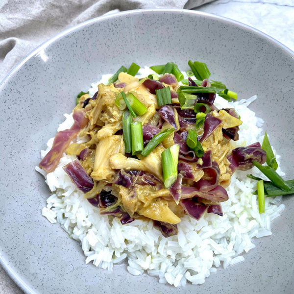 red cabbage jackfruit curry