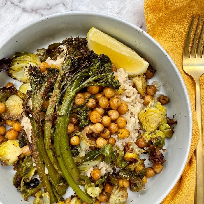 roasted veggie brussel sprout bowl